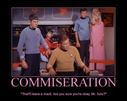 Commiseration --- That'll leave a mark. Are you sure you're okay, Mr. Sulu?