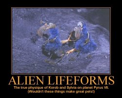 Alien Lifeforms --- The true physique of Korob and Sylvia on planet Pyrus VII. (Wouldn't these things make great pets!)