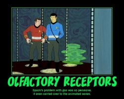 Olfactory Receptors --- Spock's problem with gas was so pervasive, it even carried over to the animated series.
