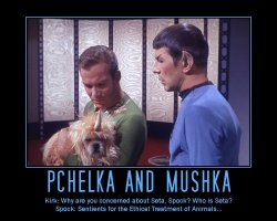 Pchelka and Mushka --- Kirk: Why are you concerned about Seta, Spock? Who is Seta?  Spock: Sentients for the Ethical Treatment of Animals...