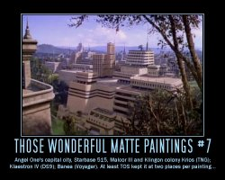 Those Wonderful Matte Paintings #7 --- Angel One's capital city, Starbase 515, Malcor III and Klingon colony Krios (TNG); Klaestron IV (DS9); Banea (Voyager). At least TOS kept it at two places per painting...