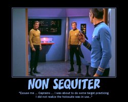 Non Sequiter --- 'Excuse me...Captains...I was about to do some target practicing. I did not realize the holosuite was in use...