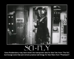Sci-Fly --- Gene Roddenberry may have stolen the transporter idea for Sta Trek from 'The Fly', but George stole that remote practice ball thingy for Star Wars from 'Phantasm'.