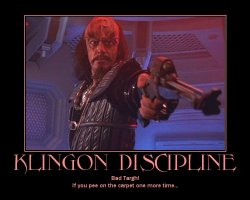 Klingon Discipline --- Bad Targh! If you pee on the carpet one more time...