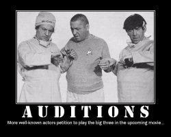 Auditions --- More well-known actors petition to play the big three in the upcoming movie...