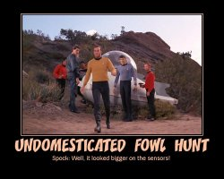 Undomesticated Fowl Hunt --- Spock: Well, it looked bigger on the sensors!