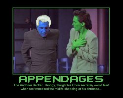 Appendages --- The Andorian Banker, Thoogy, thought his Orion secretary would faint when she witnessed the midlife shedding of his antennae...