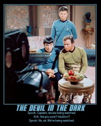 The Devil in the Dark --- Spock: Captain, we are being watched.  Kirk: Are you sure? Intuition?  Spock: No, sir. We're being watched.